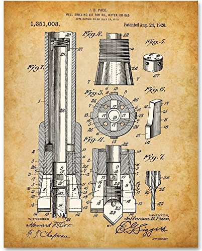 Drilling Bit For Oil, Water, Gas Patent - 11x14 Unframed Patent Print - Great Gift for People in the Petroleum Industry