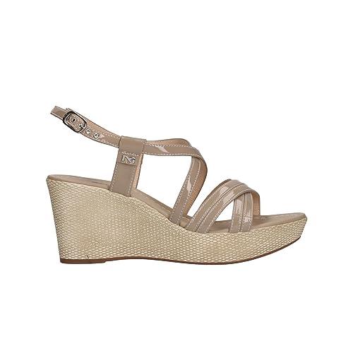 NERO GIARDINI sandali donna con zeppa pelle sabbia n. 37 P805662D 5662 .