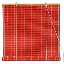 Oriental Furniture WT-YJ1-8B6A1-24W Bamboo Roll Up Blinds, Red, Clearance