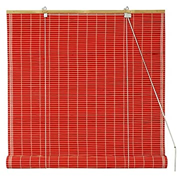 Oriental Furniture Bamboo Roll Up Blinds - Red - (24 in. x 72 in.) WT-YJ1-8B6A1-24W