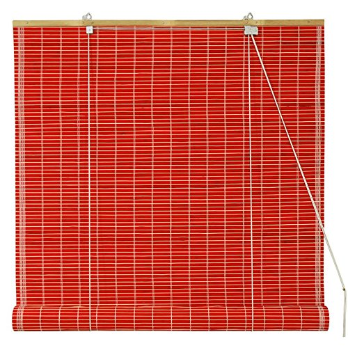 Oriental Furniture Bamboo Roll Up Blinds - Red - (72 in. x 72 - Blinds Bamboo For Sliding Doors