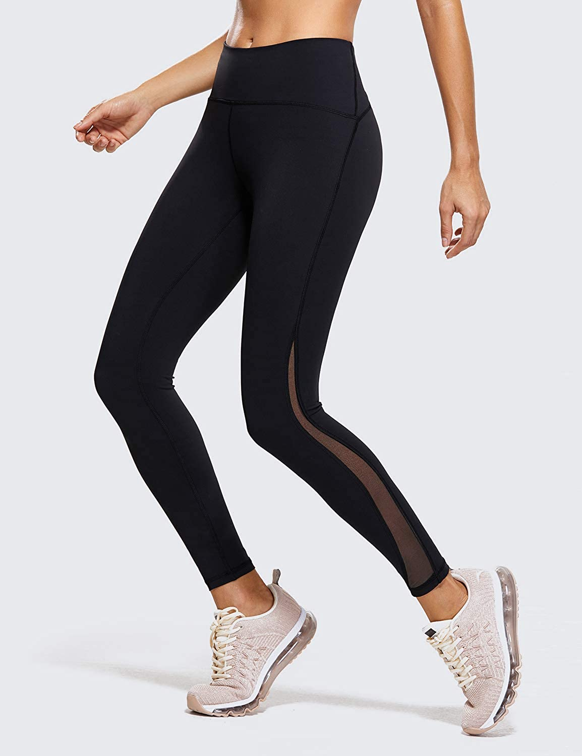 CRZ YOGA Naked Feeling High Waist 7//8 Leggings Mesh Yoga Tight Workout Leggings with Zip Pocket-25 Inches