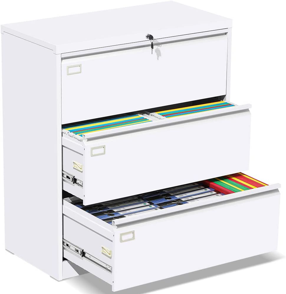 3 Drawer Lateral File Cabinet with Lock, White Heavy Duty Metal Storage Printer Stand, Anti-Rust Large Filing Cabinet with 6 Adjustable Hanging Bars and 2 Keys for Office Home (Easy to Assemble)