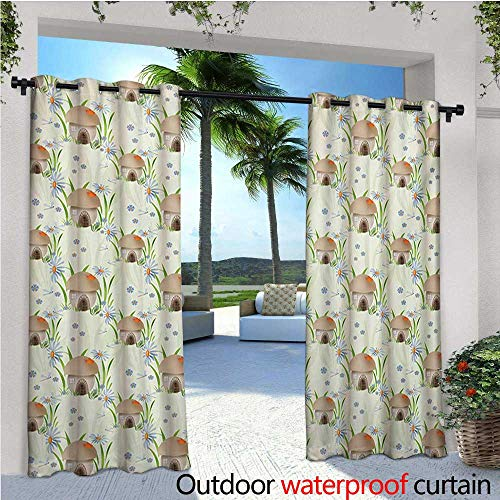 Mushroom Outdoor Blackout Curtains Mushroom House Kids Home Happy Fantasy Flower Veggies Grassland Vegetarian Outdoor Privacy Porch Curtains W120 x L84 Tan Green Orange ()