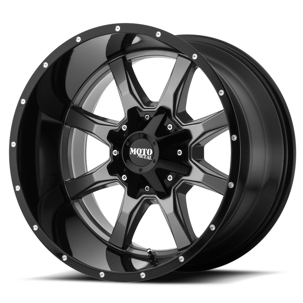 Moto Metal MO970 Gloss Grey Center with Gloss Black Lip Wheel with Painted Finish (20.00x9.00''/0x0mm)