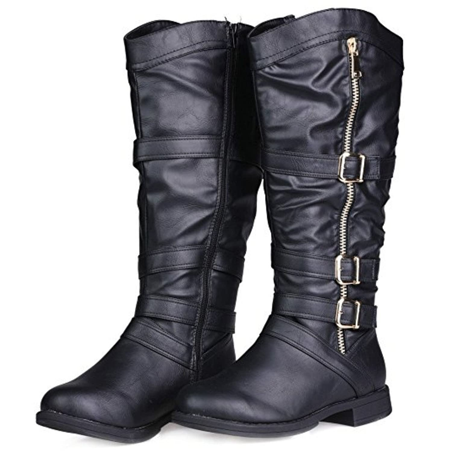 Dniu Women's Knee High Boots, Stretchy Wide Calf Faux Leather Flat Boot  With Multi Buckle Straps(Black, 5.5 UK): Amazon.co.uk: Shoes & Bags