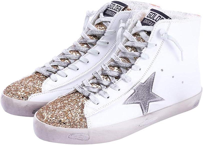 Flat Sneakers High Top Glitter Fashion