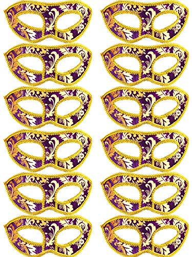- TOODOO 12 Pieces Half Mardi Gras Masquerade Mask Venetian Masks Set for Carnival Prom Ball Fancy Dress Party Supplies (Style 7)