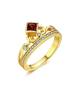 Women's New Exquisite Fashion Jewelry Hot Sale Gold Crown Square Red Zircon Wedding Ring