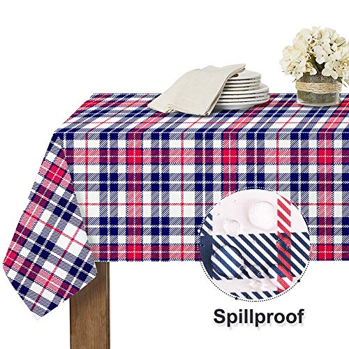 RYB HOME Plaid Checkered Tablecloth – Indoor Outdoor Table Cloth for 6 ft Table Cover Spillproof Washable Table Linens…