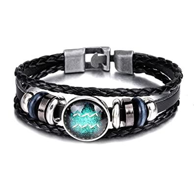 029ba888bcd1b SUMMER LOVE Zodiac Constellation Luminous Astrology Horoscop Bracelet for  Men and Women Leather Wristband Bangle