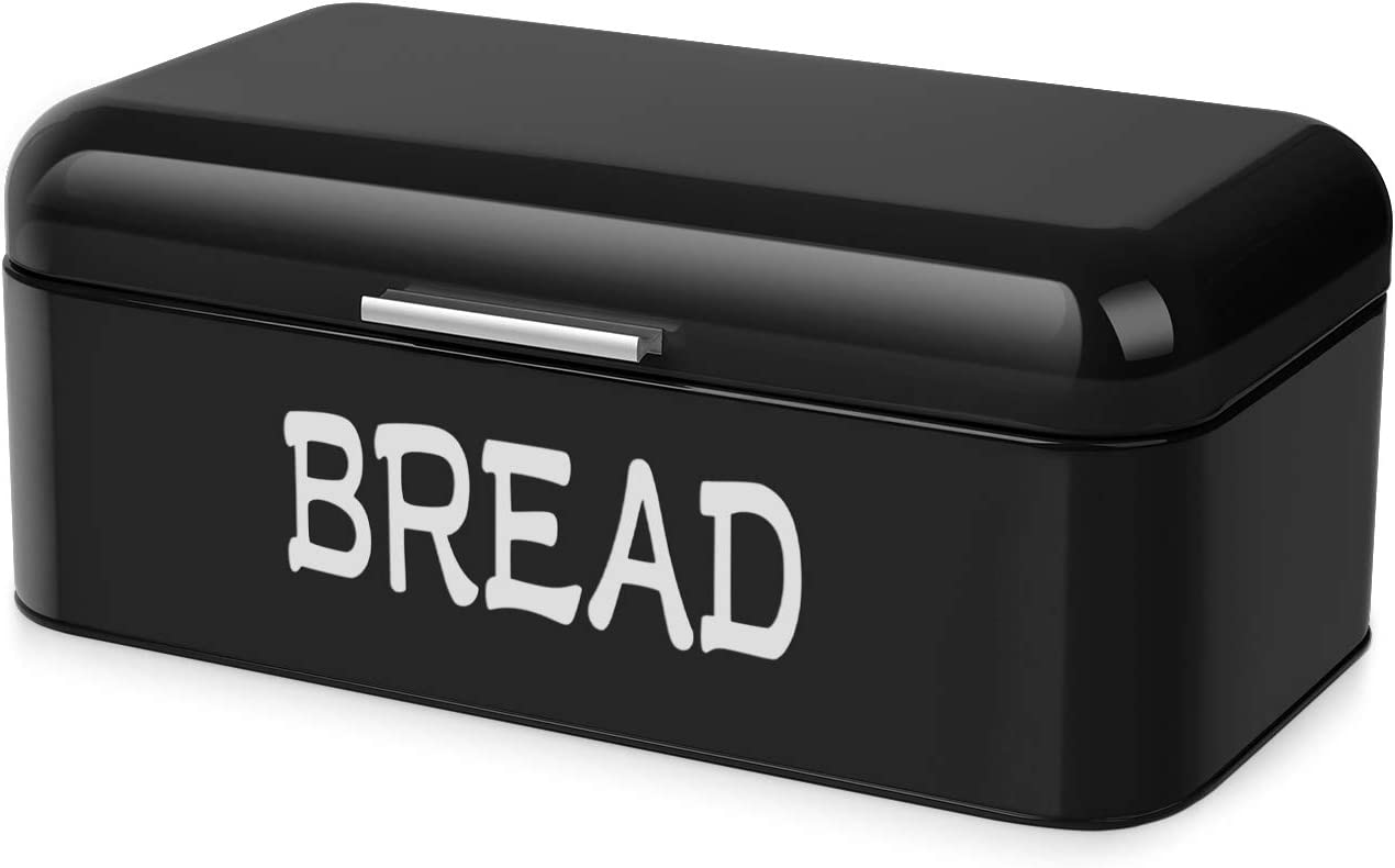 Flexzion Vintage Metal Bread Box for Kitchen Counter, Bread Bin Storage Container Steel Countertop Space Saving, for Homemade Machine Bread Refrigerator Travel Camping Bakery Caf?, Matte Black