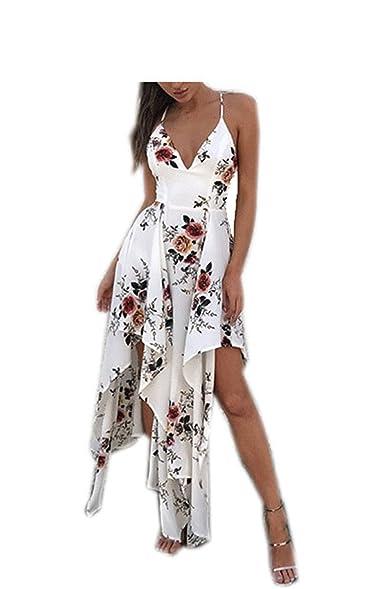 Eloise Isabel Fashion Sexy vestidos de verão mulheres flor impresso floral slip dress profundo decote em