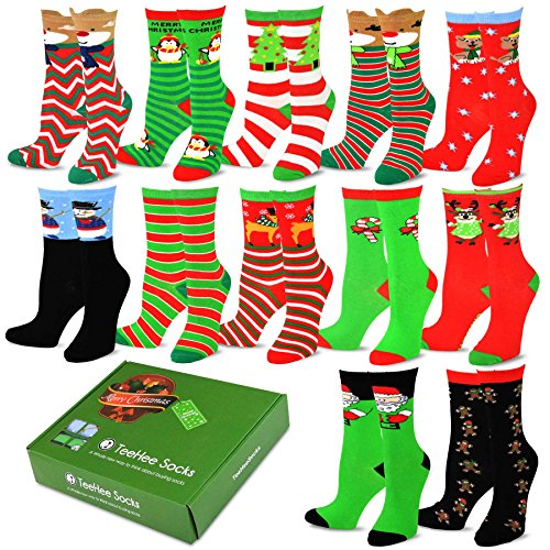 2a10c253f46 TeeHee Christmas Holiday 12-Pack Gift Socks for Women with Gift Box ...