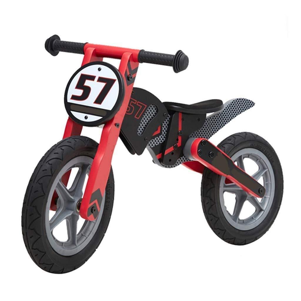 木製のバランスのバイク、男の子の女の子の誕生日プレゼントのための押しバイク、ゴム製タイヤおよび調節可能な座席が付いているランニングバイク、ピンク/黄色 ZHAOFENGMING (Color : Red, Size : As shown) B07TGCKGVK Red As shown