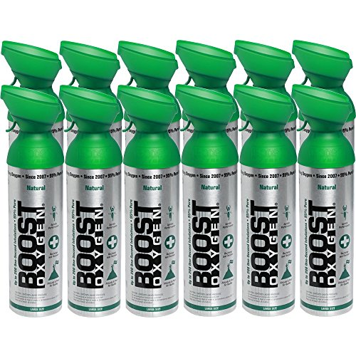 95% Pure Oxygen by Boost Oxygen - Portable Canister of Supplemental Oxygen - Increases Endurance, Recovery and Performance - 10 Liter Canisters - 12 Pack (Natural) by Boost Oxygen