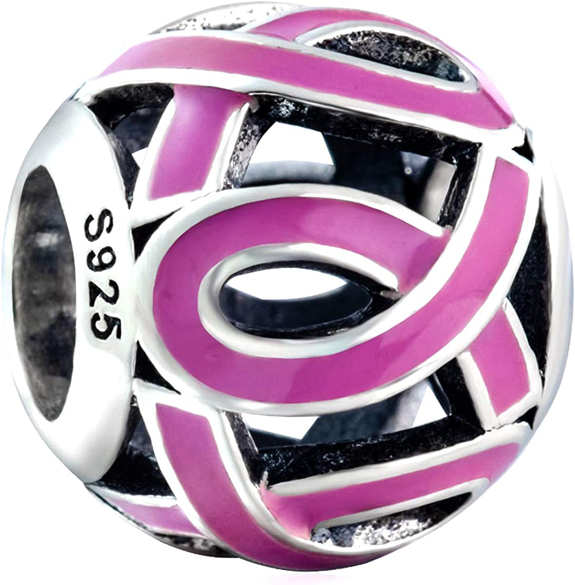 Pendants Awareness and Inspirational Charms .925 Sterling Silver Enameled Pink Ribbon Charm Pendant