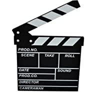 Yamix Clapboard, Wooden Clapboard Director Film Movie Cut Action Scene Slateboard Clapper Board Slate - Black S