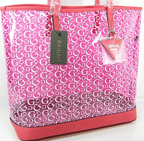 c382451ffa42 New Guess G Logo Purse Hand Bag Clear Pink White Transparent Beach Tote  Anjali