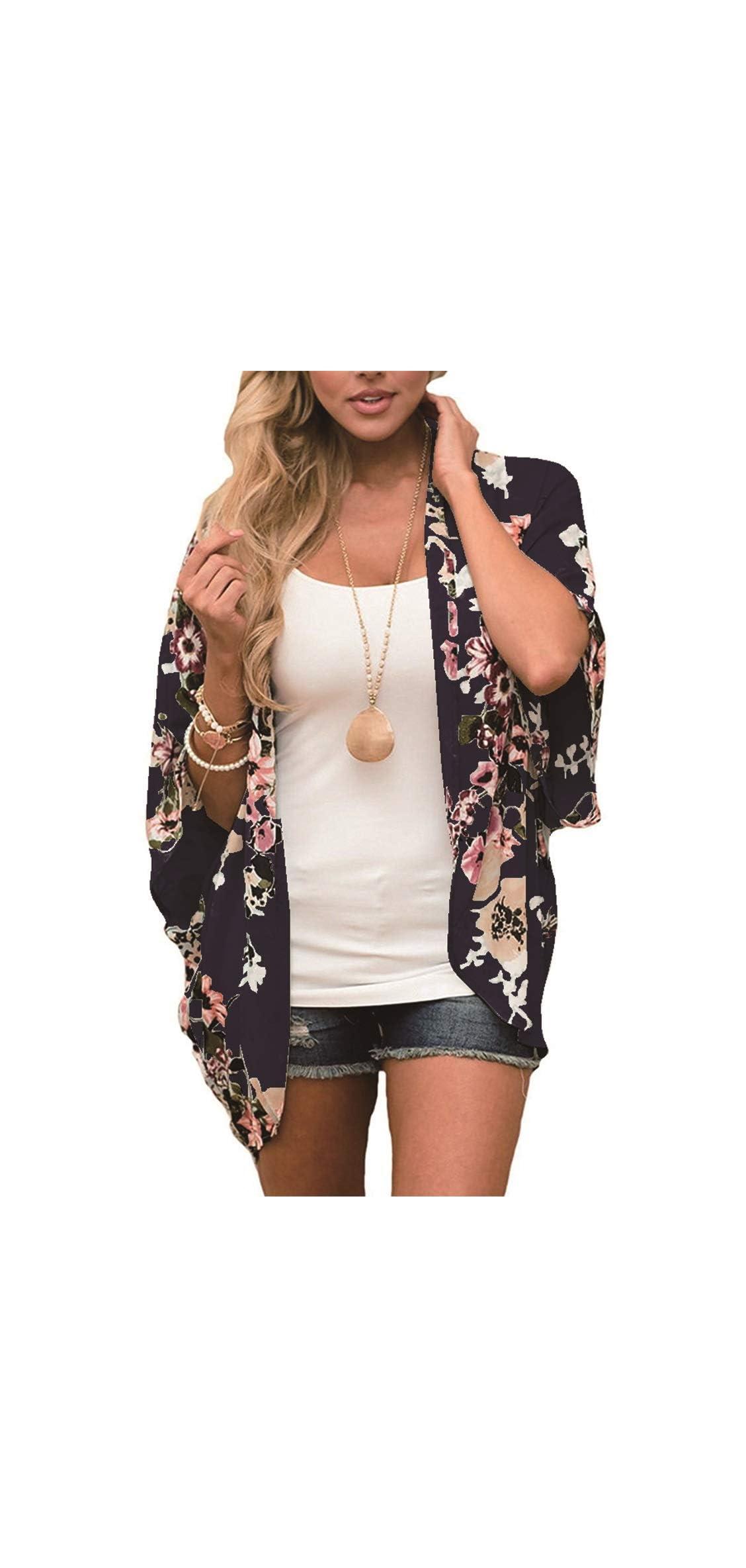 Women Casual Floral Short Sleeve Shawl Chiffon Kimono Up