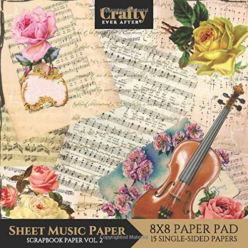 Sheet Music Paper Scrapbook Paper  Vintage Music Print Design 8x8 Single Sided For Crafts Card Making Origami Scrapbooking Paper Pad 15 Sheets Vol.2  Decorative Craft Paper Band 6