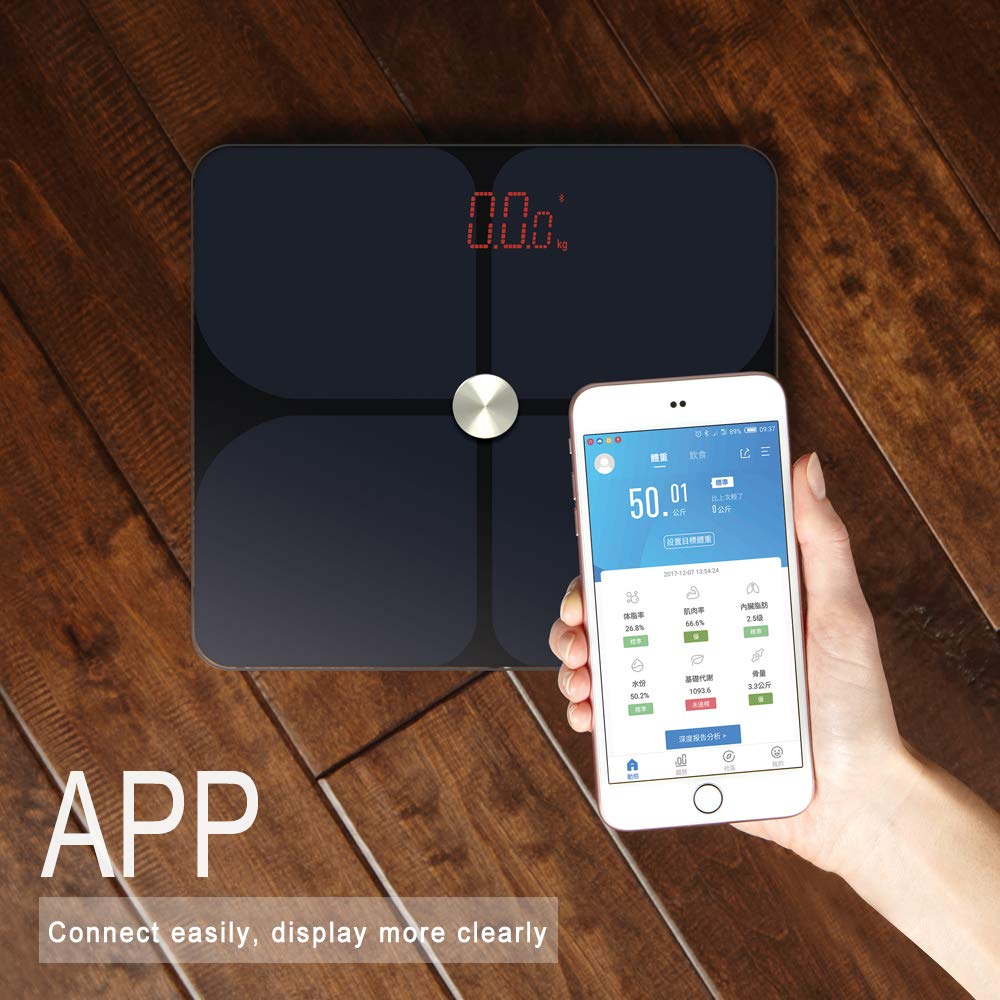 Bluetooth 4.0 Body Fat Scale, TAIZA Digital Smart BMI Bathroom Wireless Weight Scale, Body Composition Monitor with iOS and Android APP,for Body Weight, Fat, Water, BMI, BMR, Muscle Mass, 396 lbs
