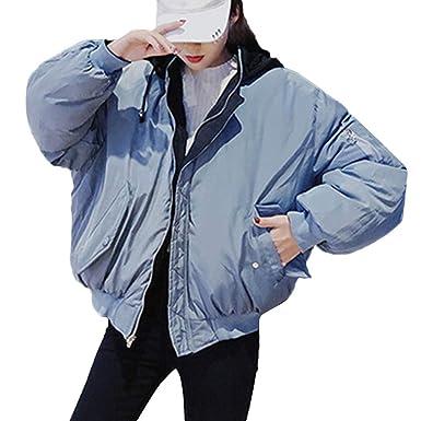 Luckycat Abrigos de Piel para Mujer, con Capucha, Dos Prendas de Vestir de Color
