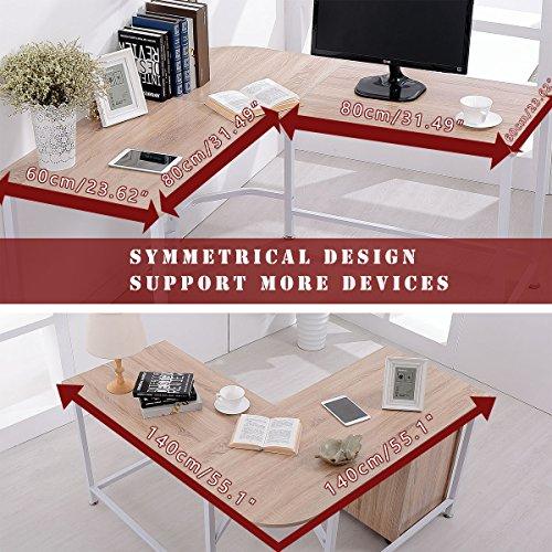 TOPSKY L-Shaped Desk Corner Computer Desk 55'' x 55'' with 24'' Deep Workstation Bevel Edge Design (Walnut+Black Leg) by TOPSKY (Image #4)