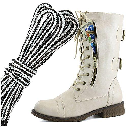Dailyshoes Womens Lace Militaire Boucle Boucle Bottes De Combat Milieu Du Genou Haute Carte De Crédit Exclusive Poche, Blanc Ivoire Blanc