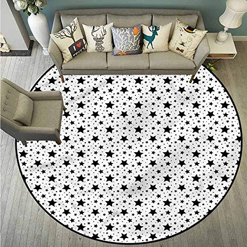 Round Carpet,Contemporary,Star Pattern Universe,Easy Clean Rugs,2'11