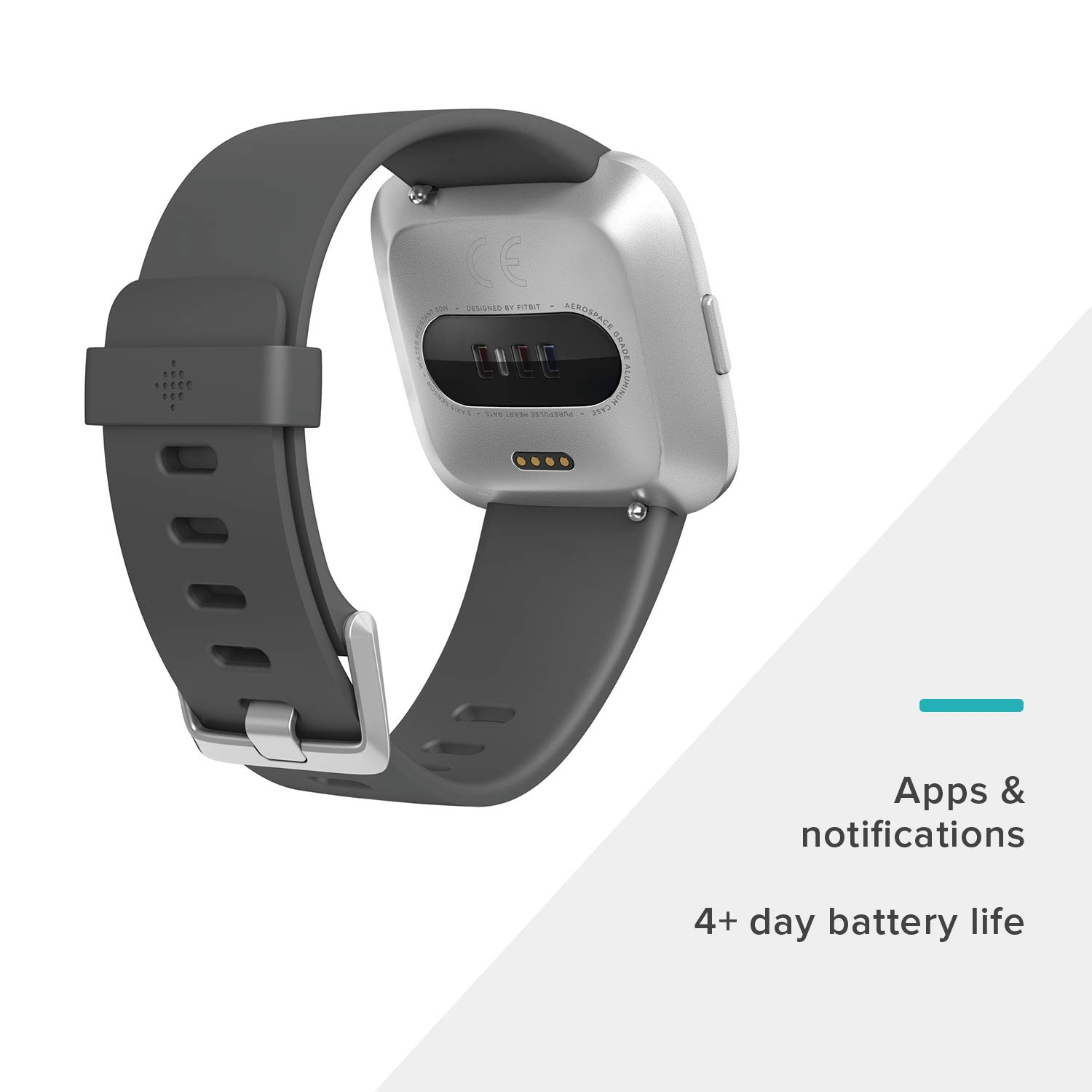 Fitbit Versa Lite Smartwatch, Charcoal/Silver Aluminum, One Size (S & L Bands Included) by Fitbit (Image #2)