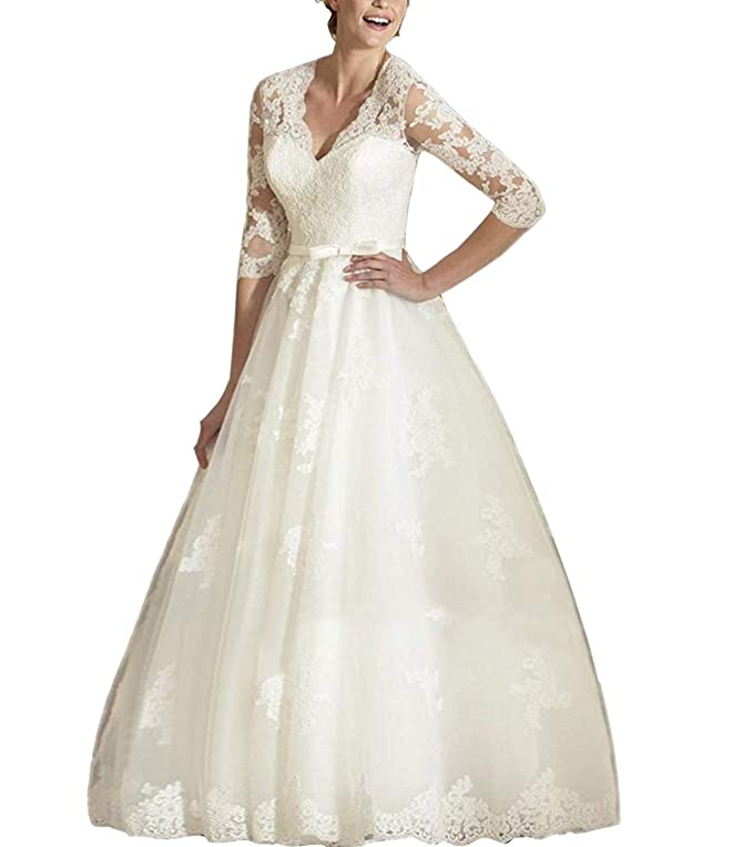 Vintage Style Wedding Dresses, Vintage Inspired Wedding Gowns Abaowedding Womens V Neck Long Sleeves Tea Length Short Wedding Dress $95.00 AT vintagedancer.com