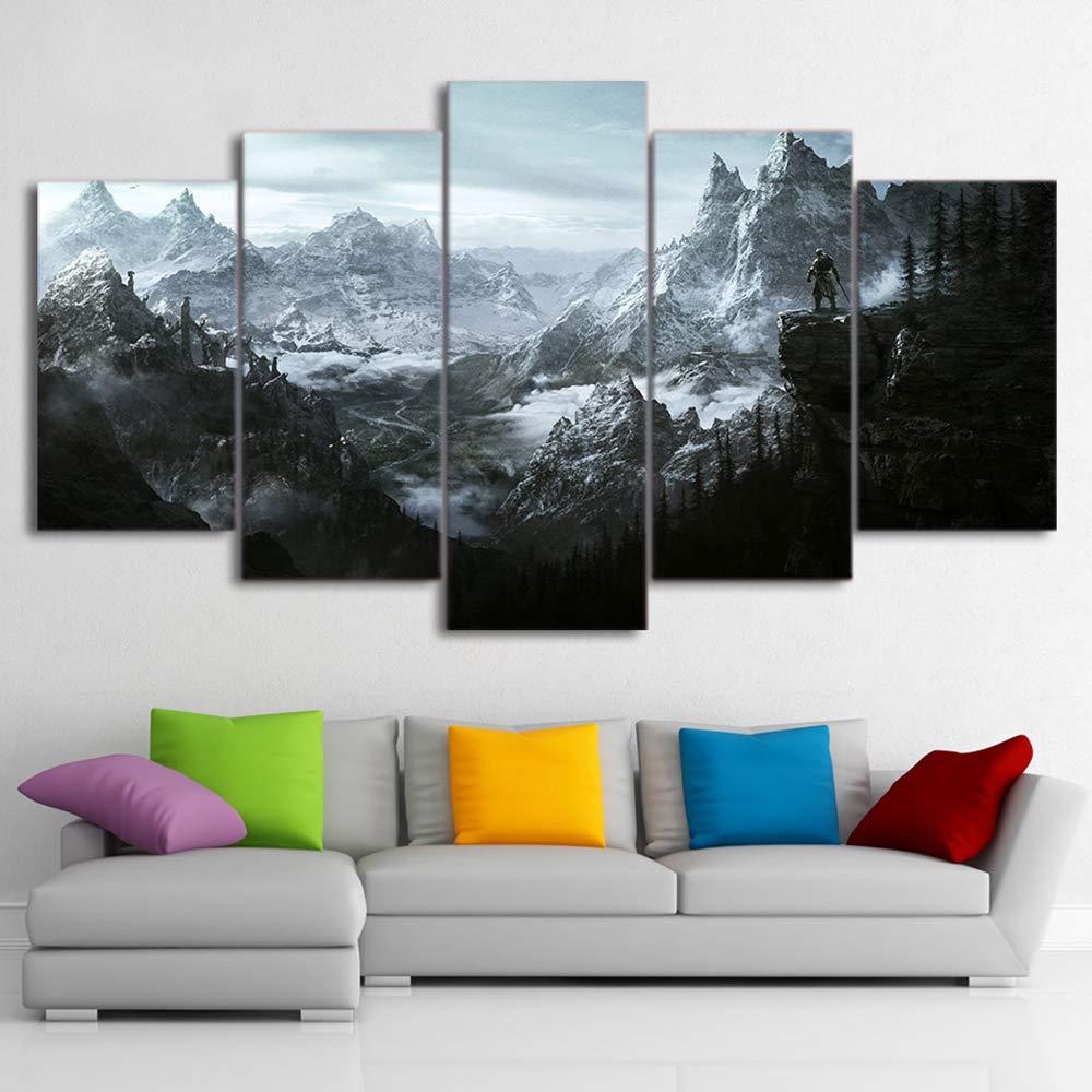 JSBVM 5 Panel Segeltuch HD gedruckt Malerei Elder Scrolls Skyrim Poster Modular Zuhause dekorativ Für Wohnzimmer