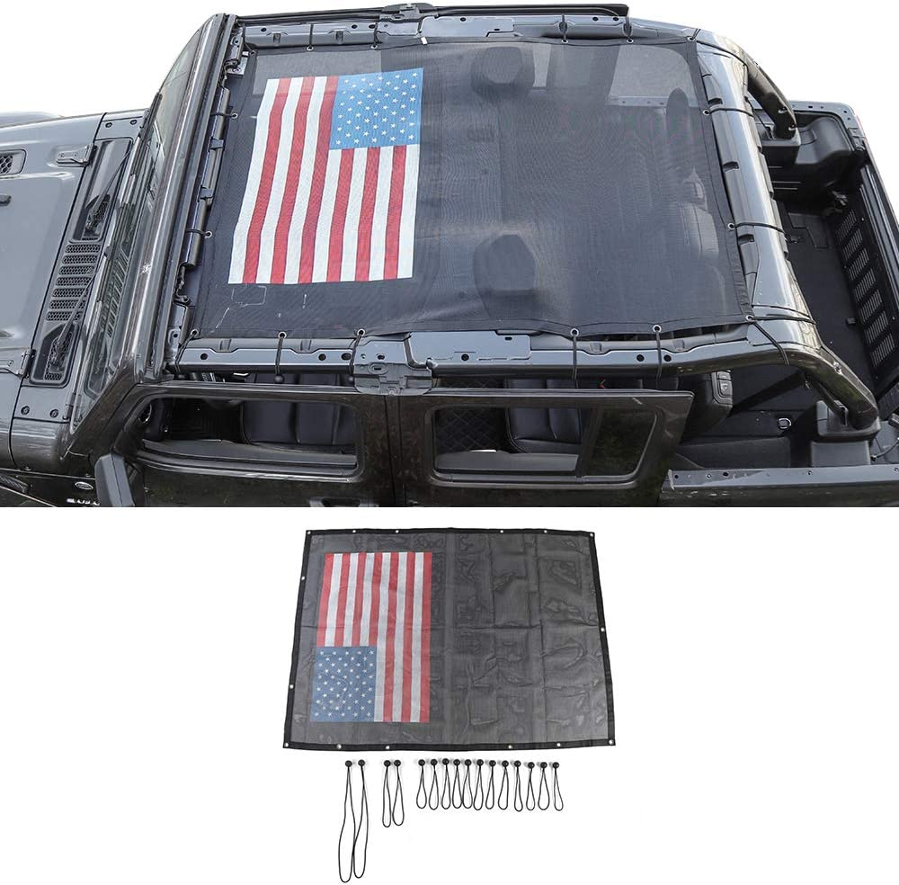 Black//Red Interior Accessories American Flag Sun Shade Top Mesh Sunshade Cover UV Sun Protection for 2018-2020 Jeep Wrangler JLU 4 Door Unlimited