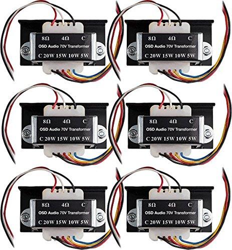 Commercial 70V Transformer Tap 8Ohms, 20W 15W 10W 5W OSD Audio SP70 (6-Pack)