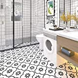 Sticker Tile Stickers Fliesenaufkleber Bad for Kitchen Bathroom Back Splash Floor Decals Modern Encaustic Ciment Carreaux Peel & Stick Vinyl Adhesive Tiles(Set 12 Units)