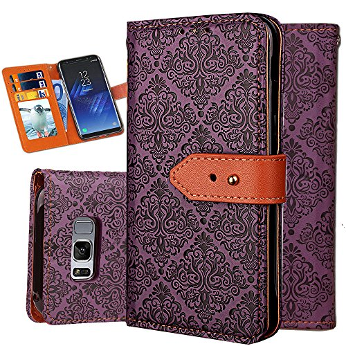 S8 Case,Galaxy S8 Wallet Case,Auker Shockproof Vintage Flip Leather Book Design Folio Flop Folding Stand Purse Cover with Card Holder&Hidden Pocket for Women/Men for Samsung Galaxy S8 (Purple)