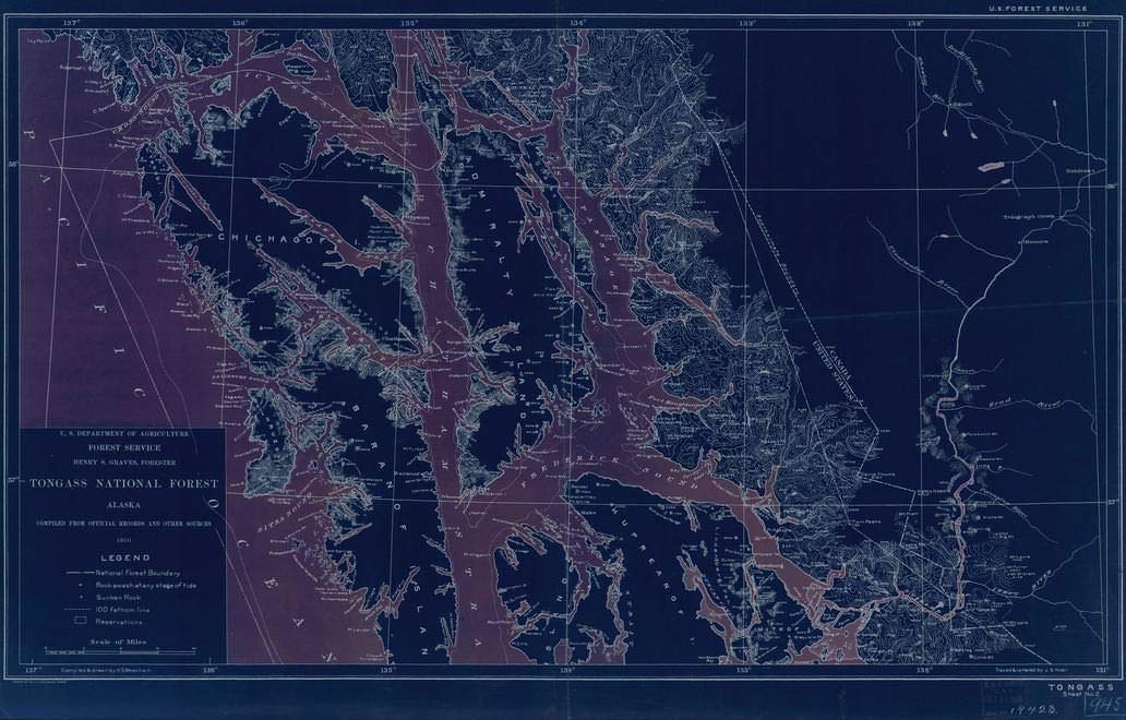 Frederick Sound Alaska Map.Amazon Com Vintography Blueprint Style 8 X 12 Nautical Map Of