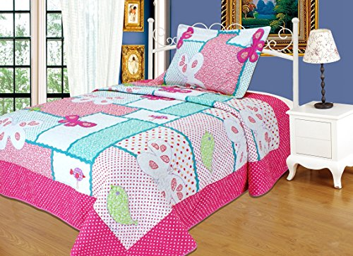 MakeTop Polka Dot Butterfly Pink Cotton Girls 2-pieces Quilt