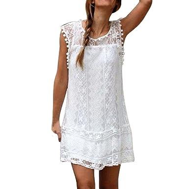 711a2b8eb5f Longra Mini Robe à Pompons Femme Femme Dentelle Blanche Robe sans Manches  Robe Bustier Femme Col