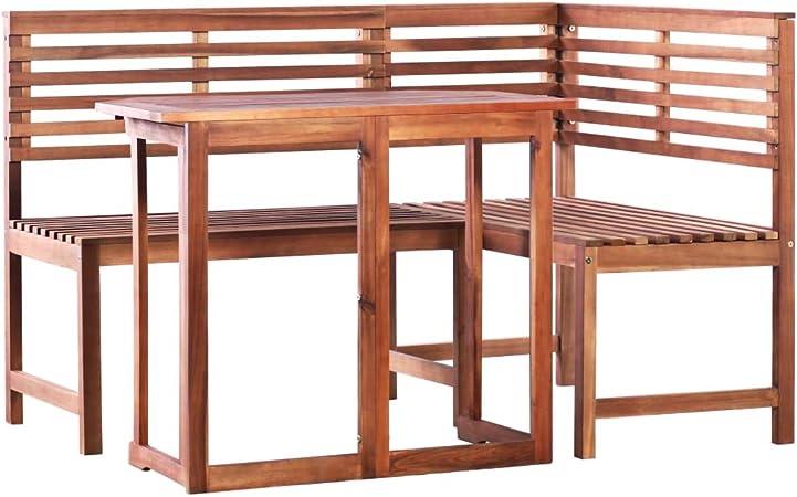 Panche Legno Ad Angolo.Vidaxl Legno Massello Di Acacia Set 2 Pz Tavolo Da Balcone E Panca