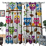 Warm Family Owls Waterproof Window Curtain Sporty Owls Cheerleader League Team Coach Football
