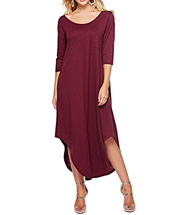 0d5985018d6d Womens Dresses Round Neck 3 4 Sleeve Side Split Loose Casual Long Maxi Dress  with