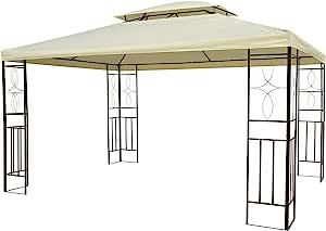 Outsunny Gazebo Cenador para Terraza Jardín Patio - Tipo Carpa Pabellón para Fiesta - 3x4x2.65m