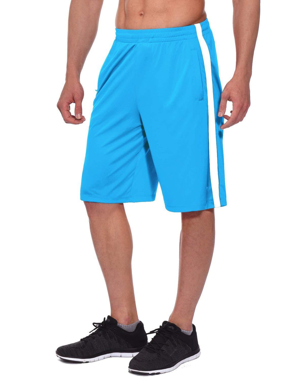 BALEAF Men's Athletic Basketball Shorts Training Workout Zipper Pockets Light Blue Size XXL by BALEAF