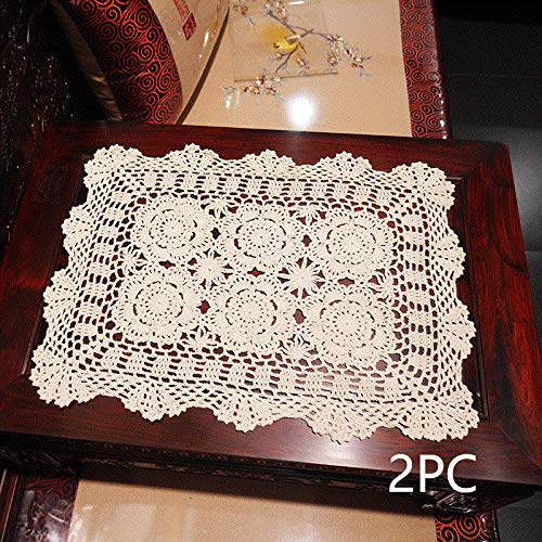 Damanni 15 Inch by 19 Inch Rectangular Cotton Handmade Crochet Lace Table Runner Doilies for Coffee Table Dresser Scarf Décor,2PC/Set (15x19 Inch, Beige)