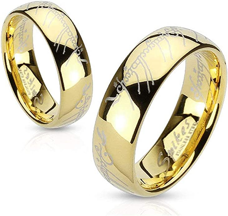 BOMSI The One Ring Lord The Rings Style Tungsten Ring Gold Color Lord Rings Laser Etched