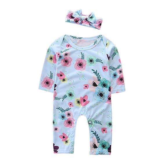YanHoo Ropa para niños Vestido de Manga Larga con Estampado Floral + Traje de Dos Piezas Conjunto de Ropa para niños Infantil Pijama Recien Nacido Cheap ...