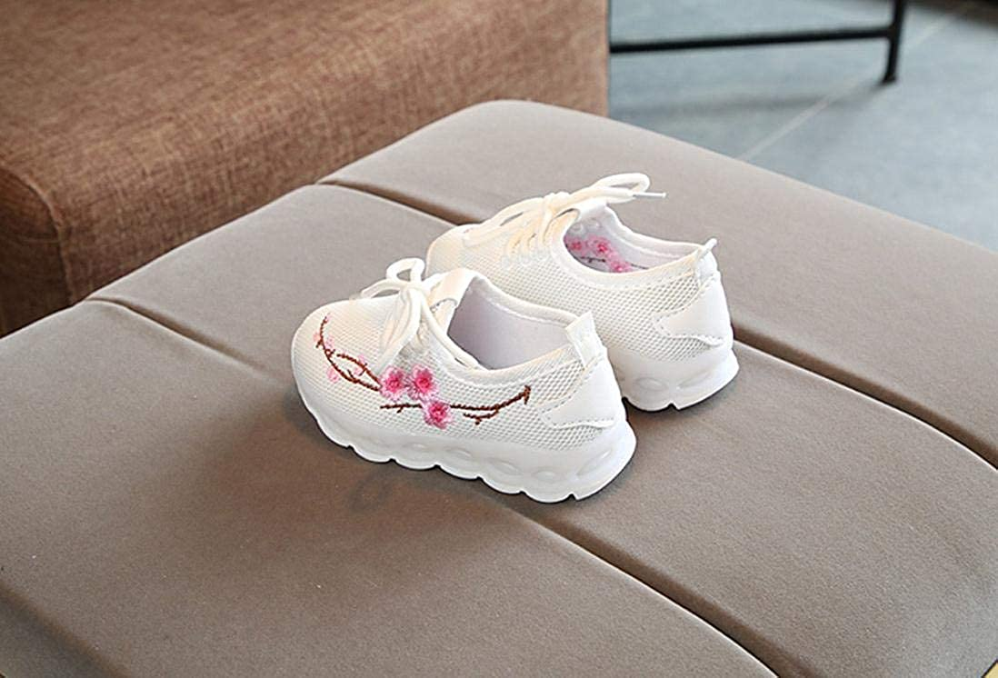 XEDUO Boys Girls Embroidery Flower Sport Running LED Luminous Shoes Sneakers