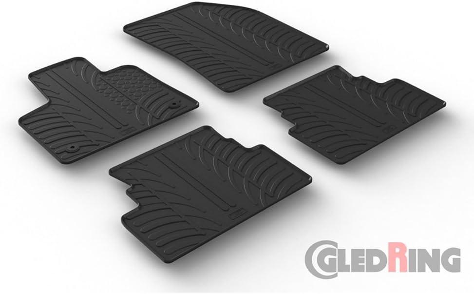 Set tapis de caoutchouc compatible avec Opel Grandland X 10//2017- T profil 4-pi/èces + clips de montage